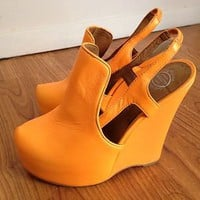 Jeffrey Campbell Darian Neo Neon Orange Platform Wedge 6.5 Hip Hot Sexy Boho