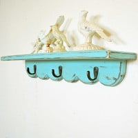 Turquoise Scallop Shelf with hooks country farmhouse by SummerRoad