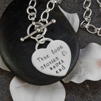 Hand Stamped Sterling Silver Single Heart Pendant by ABDesigns