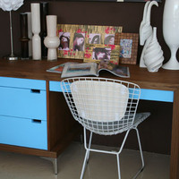 Neutra Desk in Dark Walnut and Turquoise