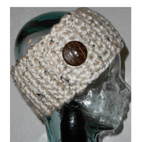 Oatmeal Headband Earwarmer Button Head wrap Crochet Headband Ear warmer White Warm Hair Band Button Gift under 25