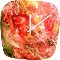 Rosie Brown Abstract Red Yupo Modern Clock