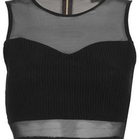 Rib Panel Mesh Crop Top