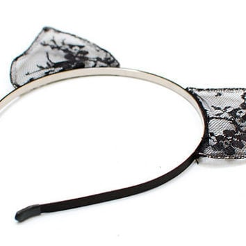 Cat Ears Black Lace Headband  Nine Lives by LoveAtFirstBlush