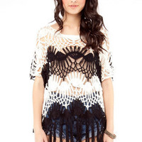 Crochet and Fringe Top in White and Black :: tobi
