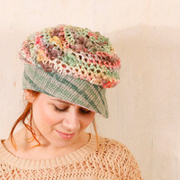 Pink woman hat Summer hat woman Pink crochet hat Pastel hat woman Knit hat woman Crochet hat Woman Chunky hat Crochet newsboy hat