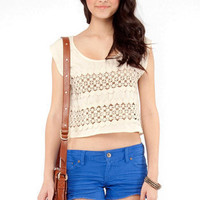 Cropped Crochet Detail Top in Beige :: tobi
