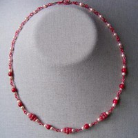 Royal Red Pearl Necklace by AthomicArtandDesign on Zibbet