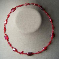 Red Bead Chain Necklace by AthomicArtandDesign on Zibbet