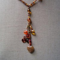Autumnal Fiesta Heart Necklace by AthomicArtandDesign on Zibbet