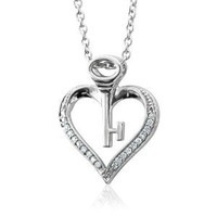 Amazon.com: Sterling Silver Key My Heart Diamond Pendant Necklace (HI, I, 0.10 carat): Diamond Delight: Jewelry