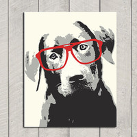Lab Art Print  Modern Dog Art  8x10 by HappyTailPrints on Etsy