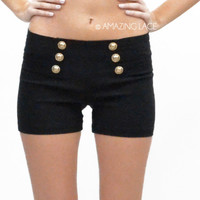 High Waist Gold Button Shorts