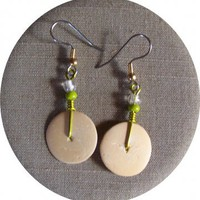 Ivory Disc Earrings by AthomicArtandDesign on Zibbet