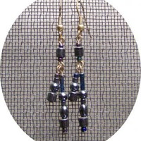 Hematite Dangle Earrings by AthomicArtandDesign on Zibbet