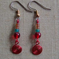 Red Spiral Earrings by AthomicArtandDesign on Zibbet