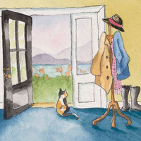 Note Card Calico Looking out the Door by juniperstreetstudios