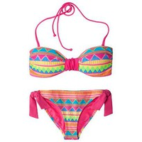Target : Xhilaration Juniors 2-Piece Bikini Swimsuit in Geometric Print -Pink/Yellow : Image Zoom