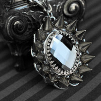 Gothic/dark victorian glass cabochon necklace with spikes - black diamond - unisex jewelry