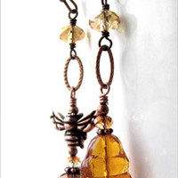 Asymmetrical Honey Bee Hive Earrings