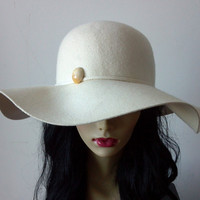 Ivory Cream Beige Wide Floppy Wool Hat by MYCACouture