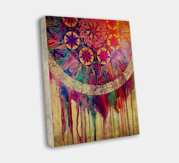 Dream catcher colorful paint art on from thecanvasart on for Dream catcher spray painting