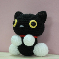 Black Cat 6.3&quot; - Finished Handmade Amigurumi crochet doll Home decor birthday gift Baby shower toy