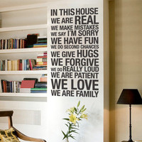Vinyl Wall Housewares - In this house Decal