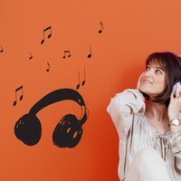 Headphones Wall Decal - Cool Music Home Decoration
