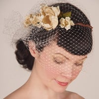 Wedding Headpiece - French Birdcage Bridal Veil & Floral Crown - Cream Flowers w/ Pearl and Crystal Centers
