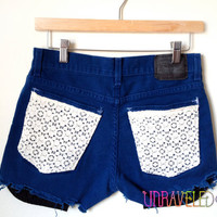 Levi's Shorts with lace pockets SMALL // 2022 by UnraveledClothing