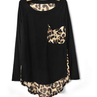 Ladies Cotton and Chiffon Black Loose Top  YIF11664b