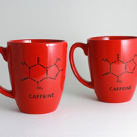 Red Coffee Cup with Caffeine Chemistry