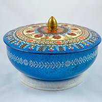 Vintage European Embossed Ornate Biscuit Tin in Royal Blue, Orange & Gold
