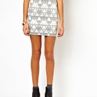 Mini Skirt In Pyramid Print