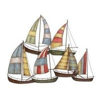 6 Sailboats Metal Wall Art Sculpture 33