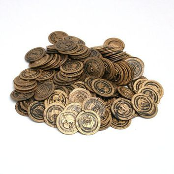 Lot of 144 Toy Pirate Treasure Coins Skull Party Favors