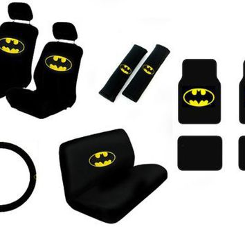 15 Piece Auto Interior Gift Set - Batman Classic Logo - 2 Front Seat Covers (2 Front and 2 Bottom),