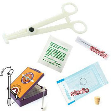 6- piece nose (nostril) piercing starter kit, 18 gauge