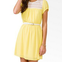 Lace Panel Dress w/ Belt | FOREVER21 - 2040495818