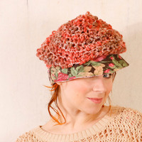 Knit hat woman Woman cap Crochet hat woman Pink brown hat Shabby hat Slouchy hat Summer hat woman Pink crochet hat