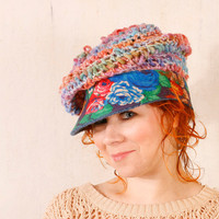 Crochet hat cap Woman knit hat Blue pink hat Summer hat woman Blue floral hat  Woman crochet hat Chunky hat Crochet newsboy hat
