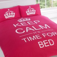 FULL CERISE PINK TEENAGER KEEP CALM ITS TIME FOR BED COTTON REVERSIBLE COMFORTER COVER