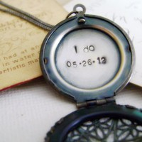 Locket Necklace Hand Stamped Secret Message - Wedding Keepsake Locket I Do