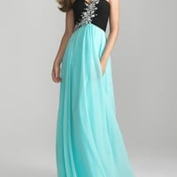 Charming Water &amp; Black Chiffon Rhinestone One Shoulder Prom Dress