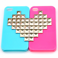 Fashion iPhone 4 ,4S hard Case Cover with silver Heart-shaped bronze pyramid stud for iPhone 4 Case, iPhone 4S Case  0001