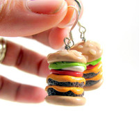 Double Cheeseburger Earrings Polymer Clay Food by LuisasCreations