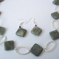 Seaweed Stone and Silver Chain Necklace with Matching Earrings