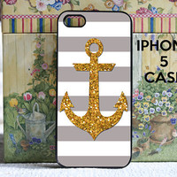 iPhone 5 case gray stripes with gold anchor - iPhone 5 Snap on Case Cover
