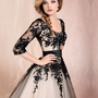 WowDresses  Black Lace Ball Gown Round Neckline Half-sleeves Knee Length Prom Dress